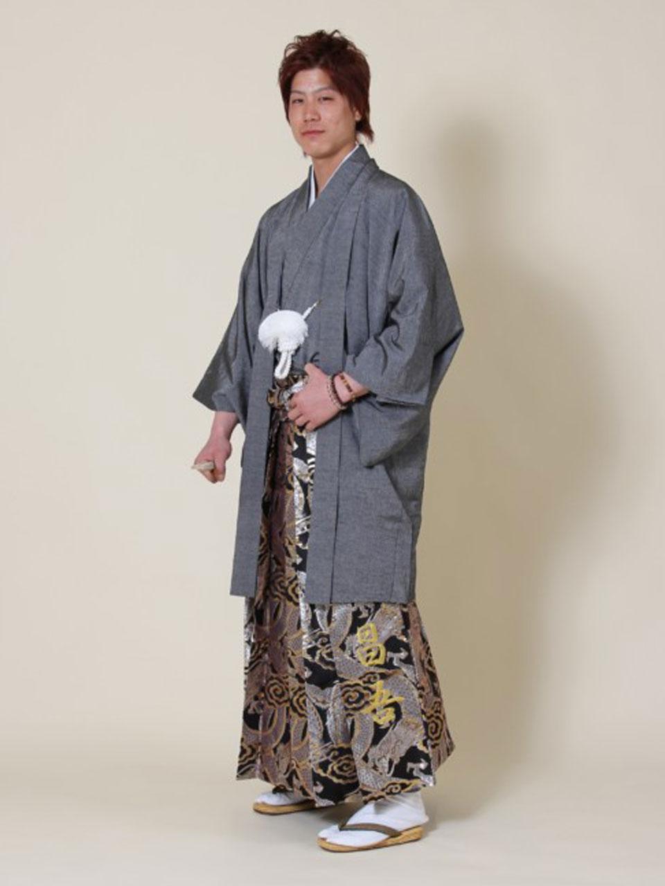 成人式(グレー羽織袴)