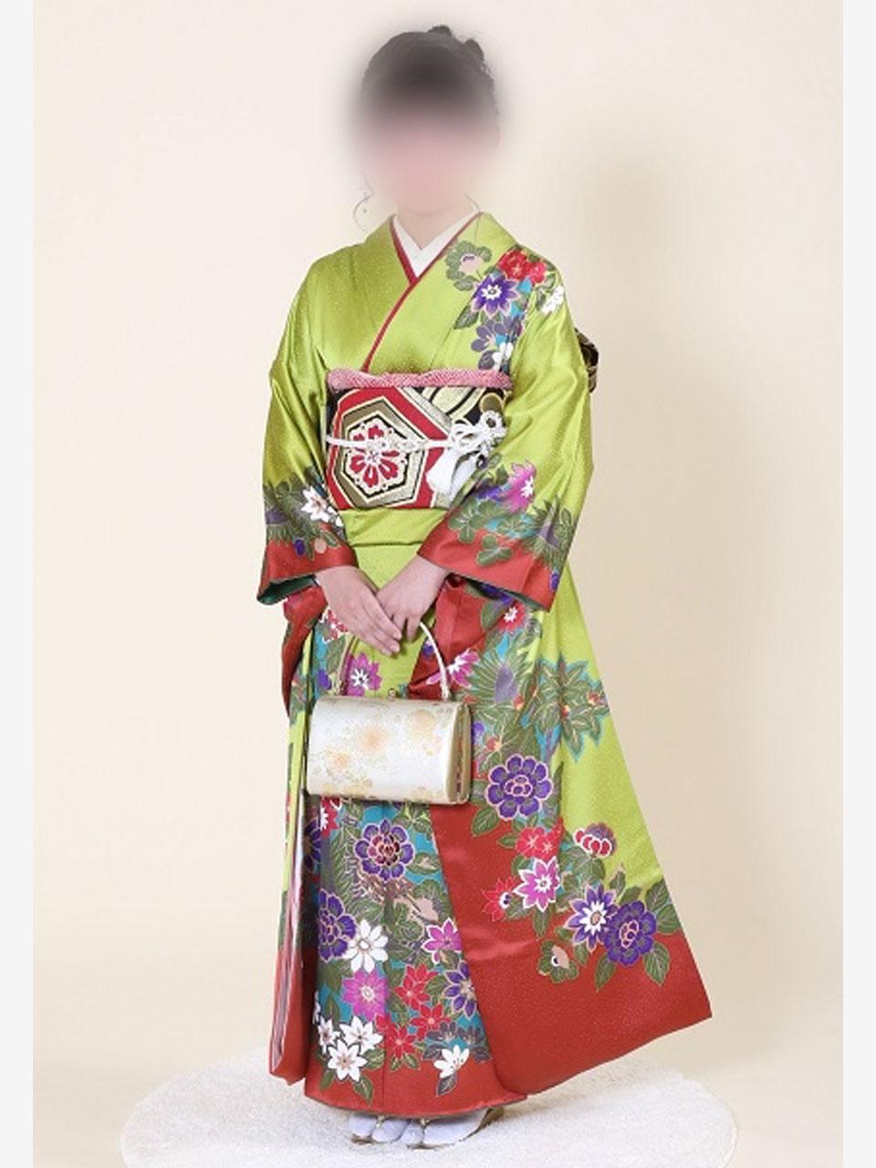 振袖(古典抹茶に花)