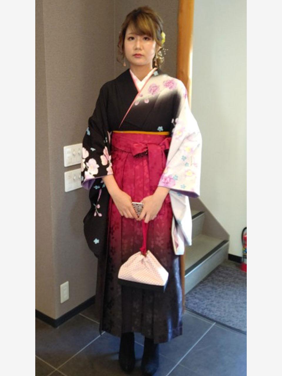 卒業袴(黒白蘭)