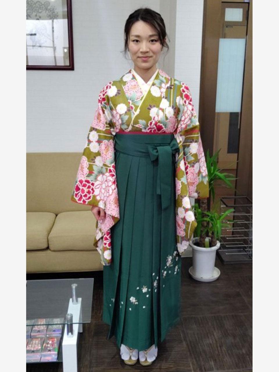 卒業袴(黄色抹茶花小紋)