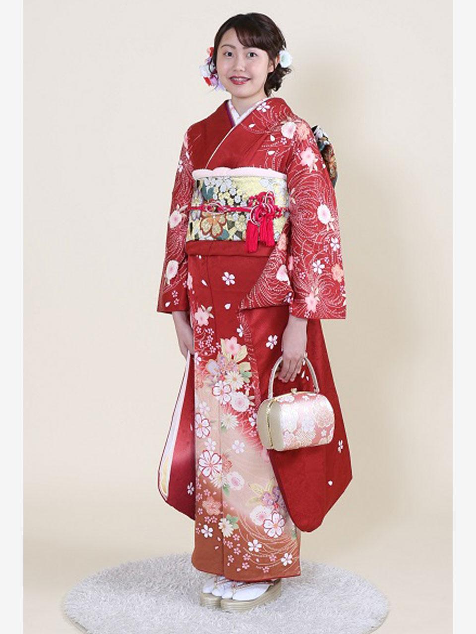 振袖(赤地桜と菊)