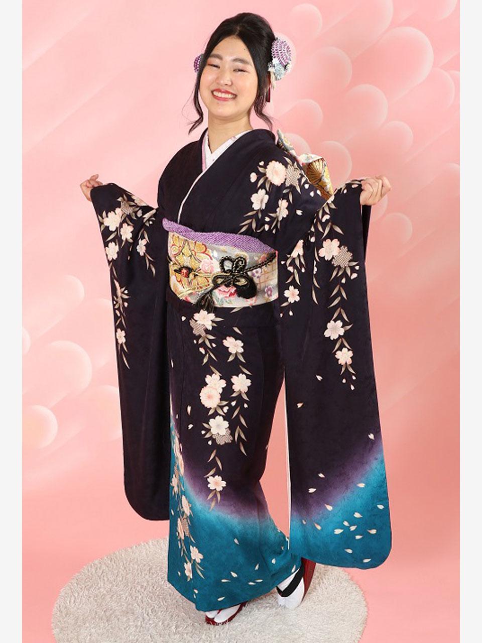 振袖(紫&青のしだれ桜)