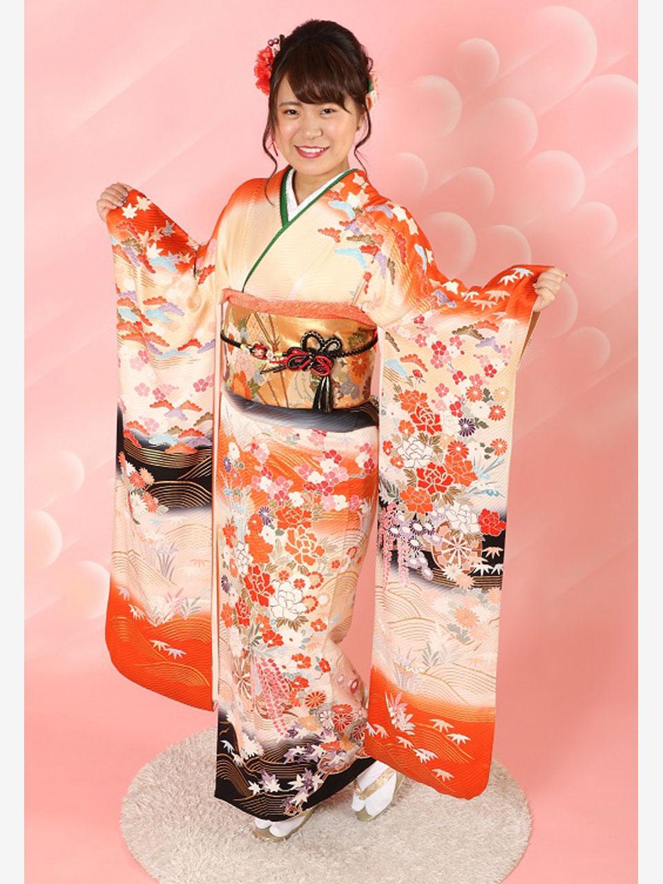 振袖(古典白橙ぼかし花)